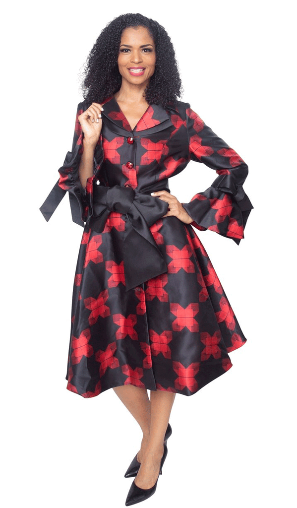 Diana Dress 8222-Black/Red - Church Suits For Less