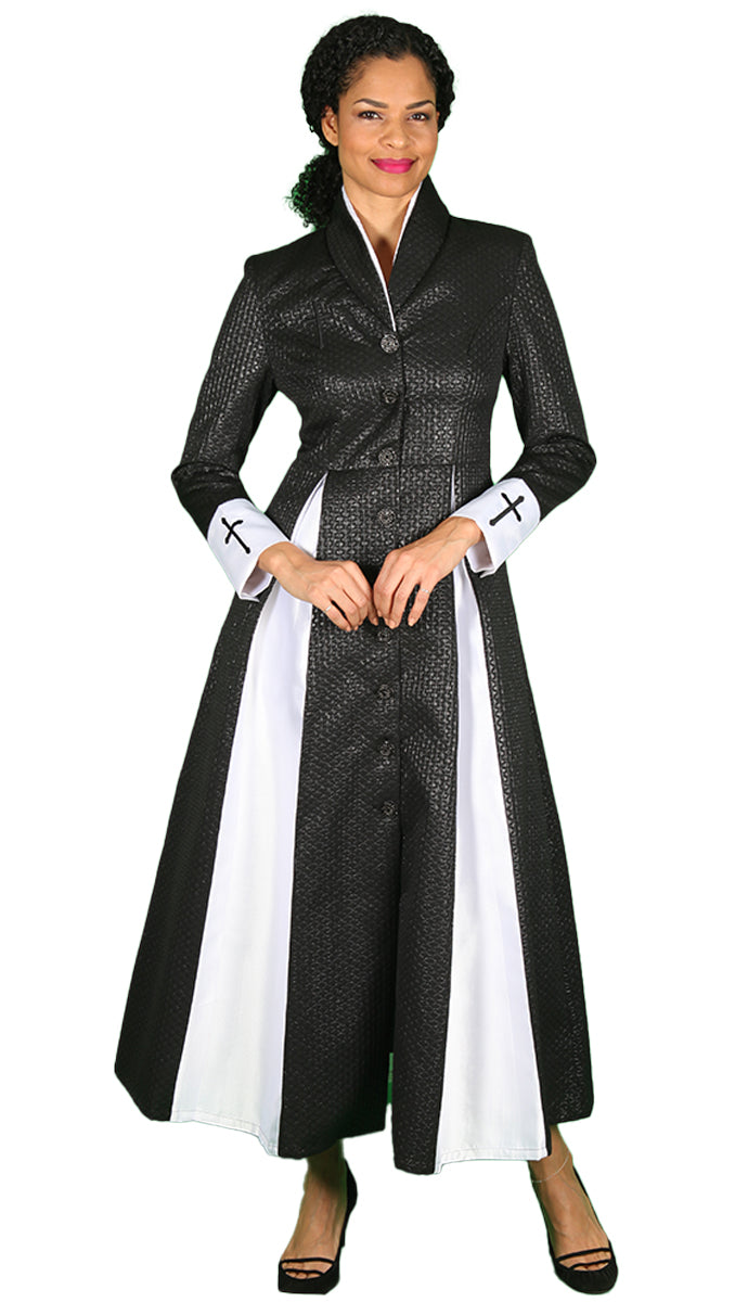Diana Couture Church Robe 8556-Black/White - Church Suits For Less