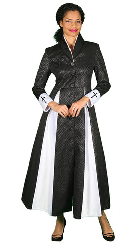 Diana Couture Church Robe 8556-Black/White