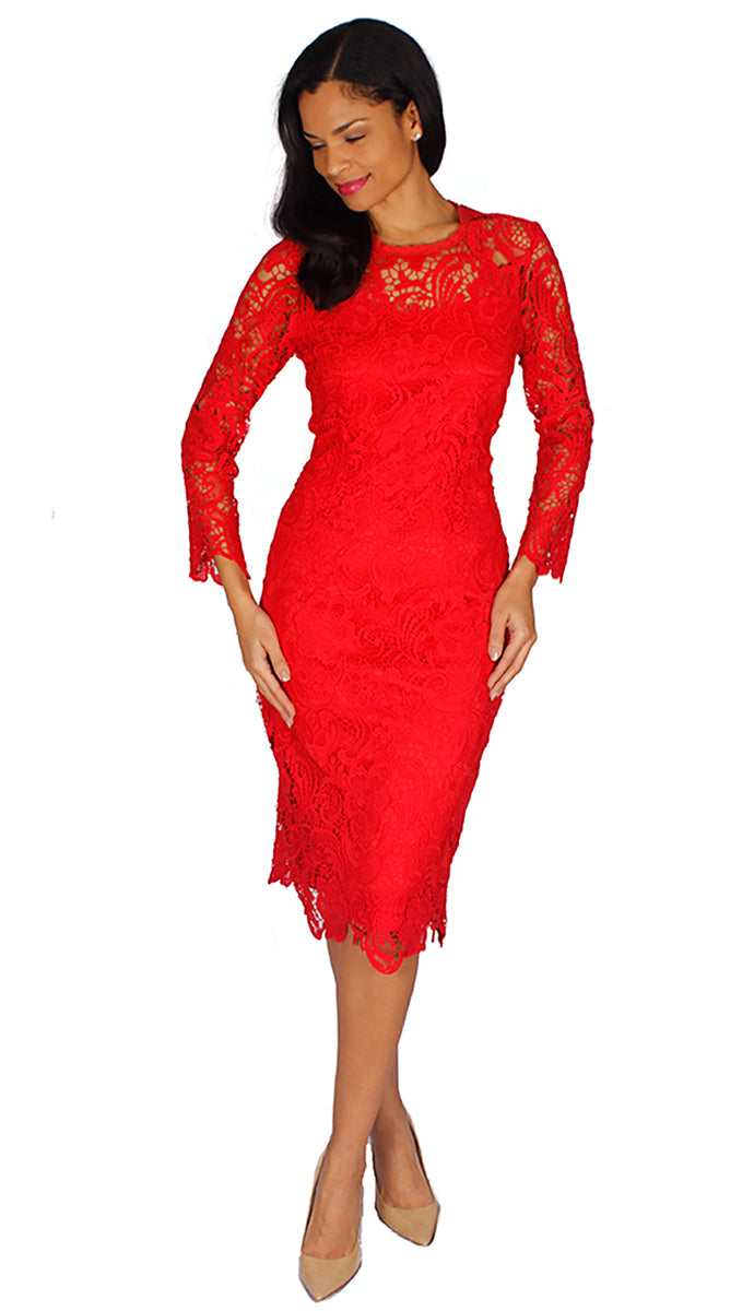 Diana Couture Dress 7069-Red - Church Suits For Less