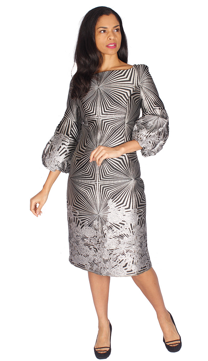 Diana Couture Dress 8532-Silver/White - Church Suits For Less