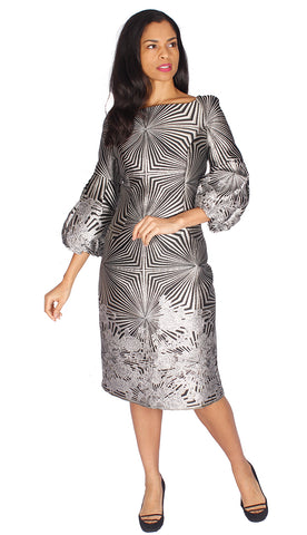 Diana Couture Dress 8532-Silver/White