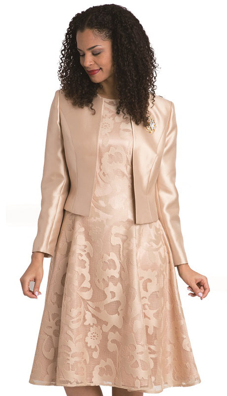 Diana Dress 8138-Champagne - Church Suits For Less