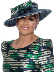 Dorinda Clark Cole Hat 3071-Green/Navy - Church Suits For Less