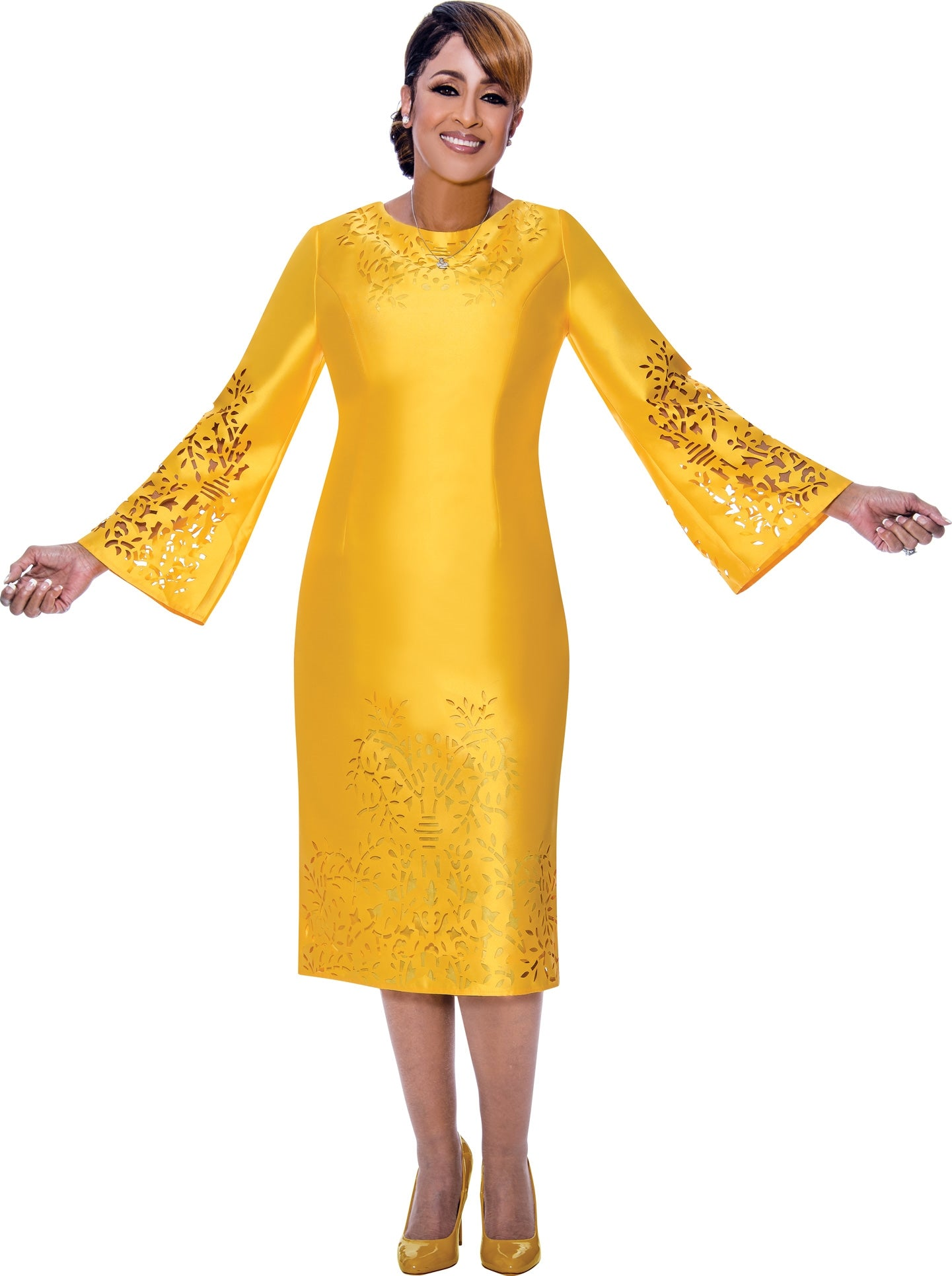 Dorinda Clark Cole Dress 2651-Yellow - Church Suits For Less