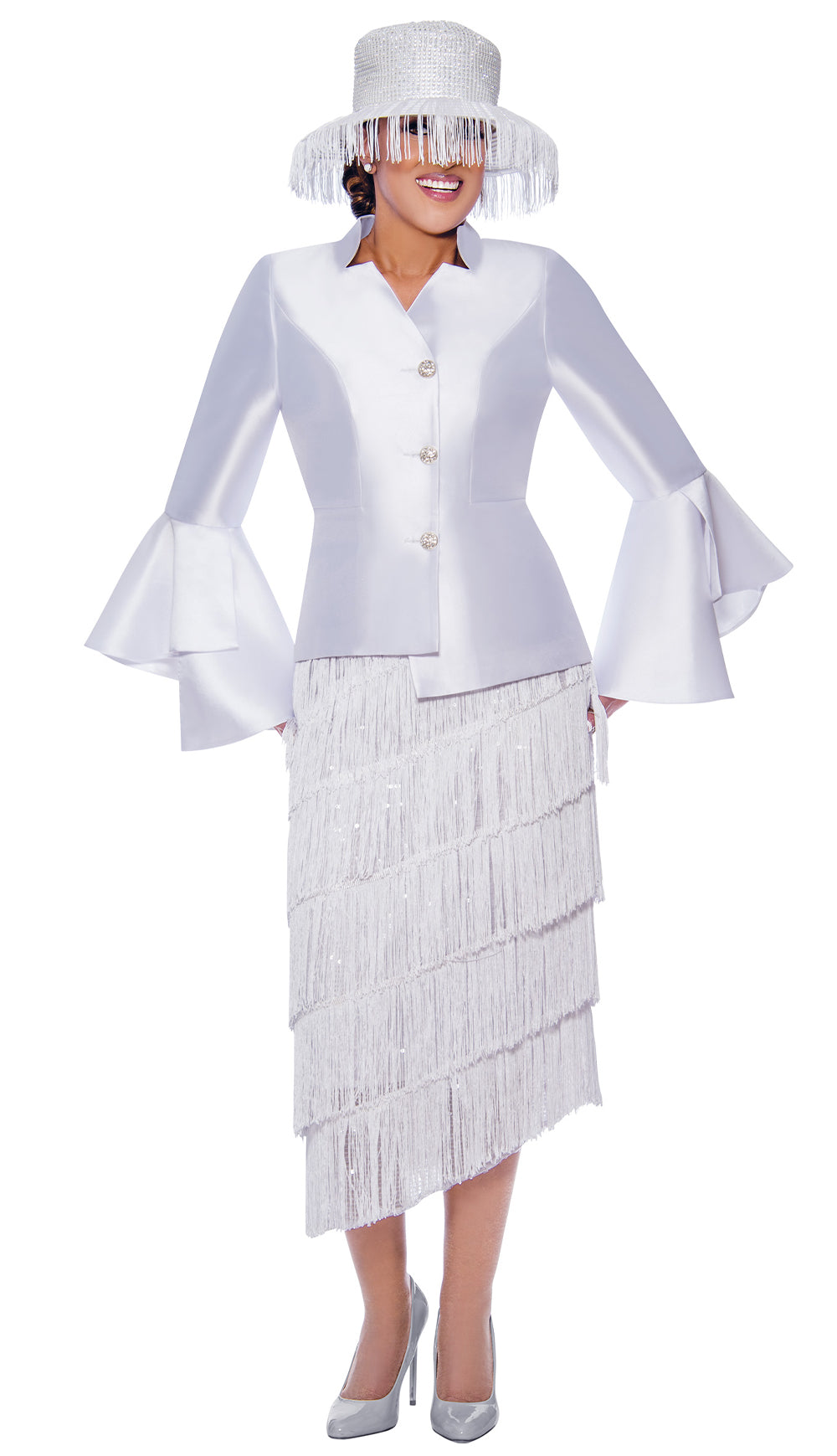 Dorinda Clark Cole Suit 9032-White - Church Suits For Less