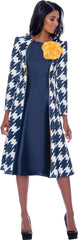 Nubiano Dress 2301-Navy/White/Gold - Church Suits For Less
