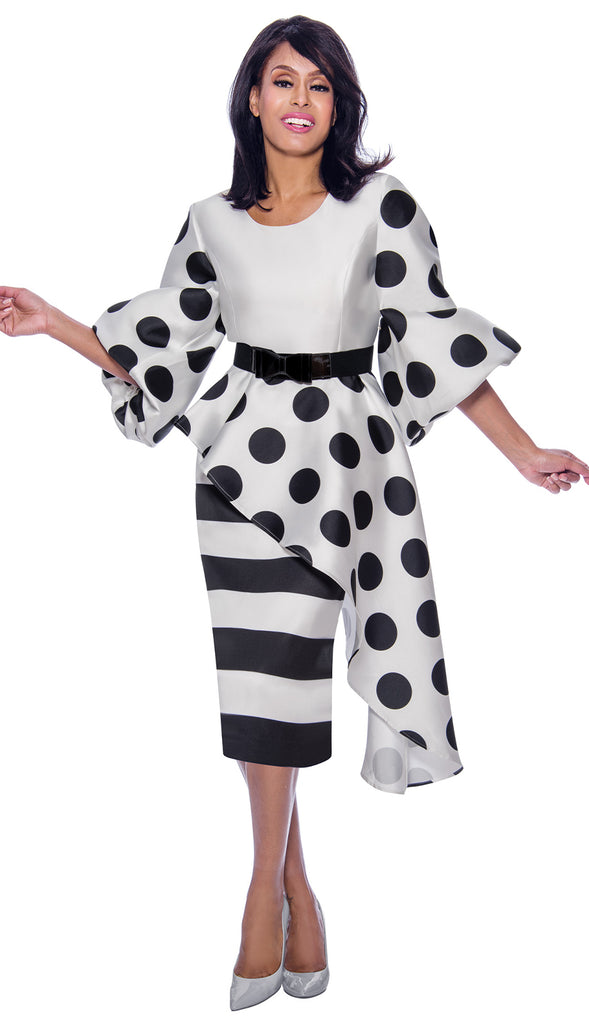 Dress By Nubiano 2521-White/Black - Church Suits For Less