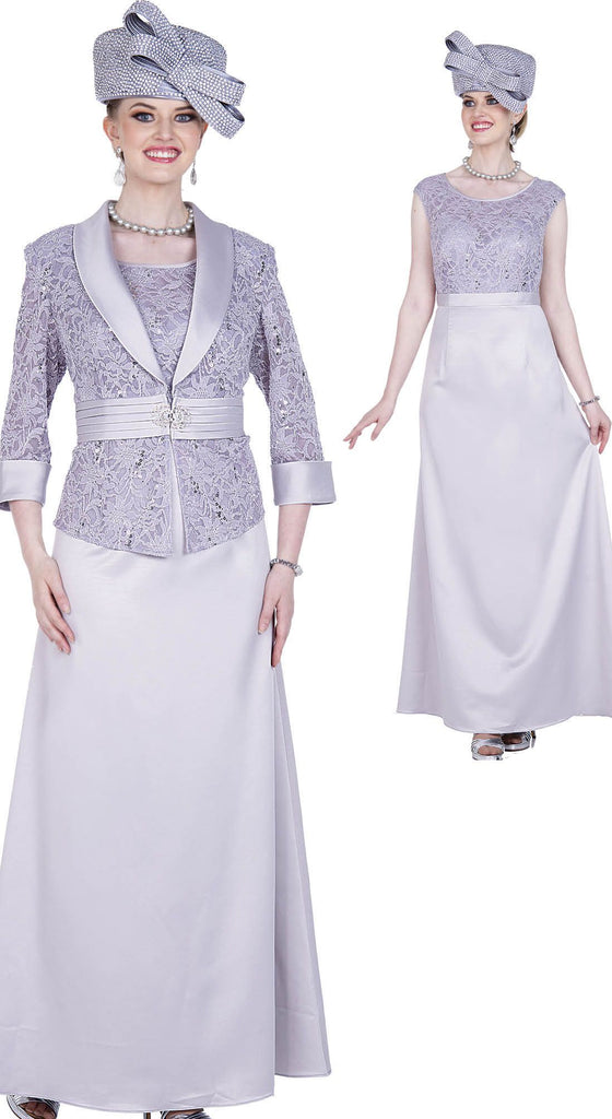 Aussie Austine Dress 5360-Pearl Grey - Church Suits For Less