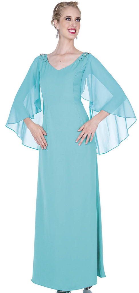 Elite Champagne Dress 5371-Aqua Green - Church Suits For Less