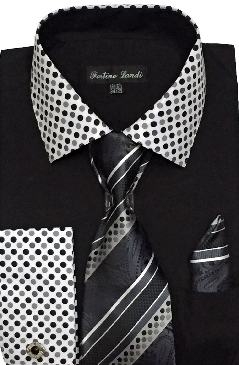 Fortino Landi Shirt FL630-Black - Church Suits For Less