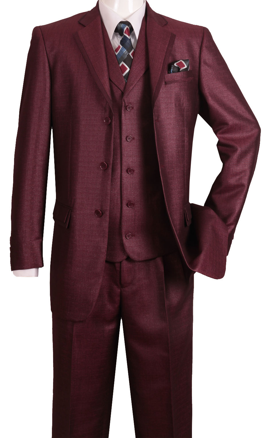 Fortino Landi Men Suit 5909V-Burgundy - Church Suits For Less