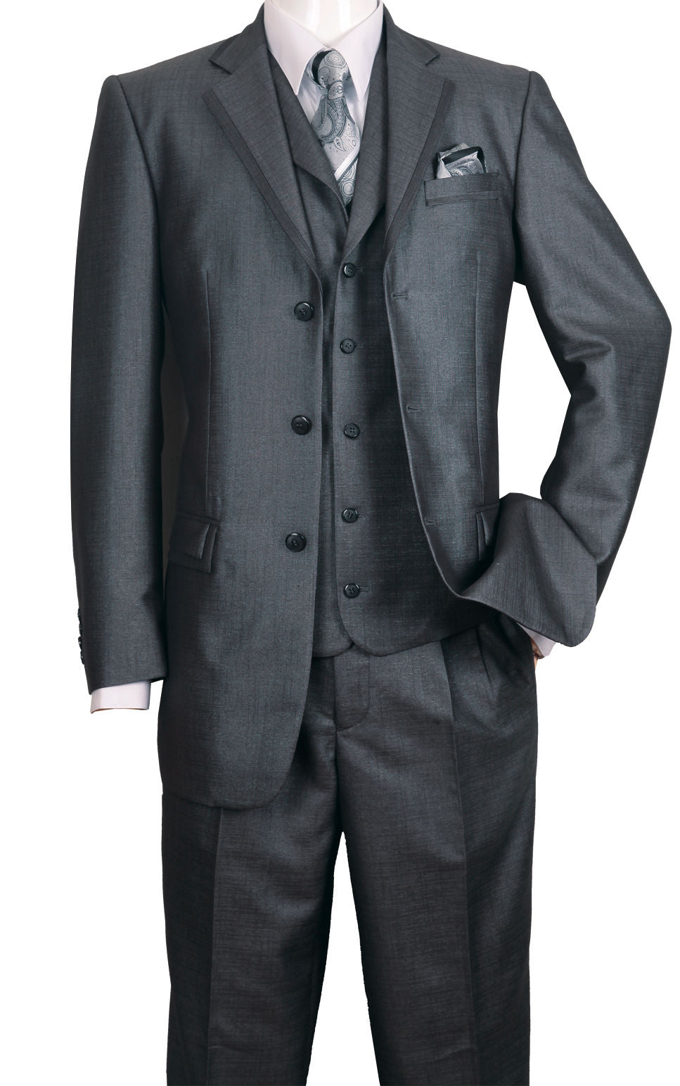 Fortino Landi Men Suit 5909V-Black - Church Suits For Less