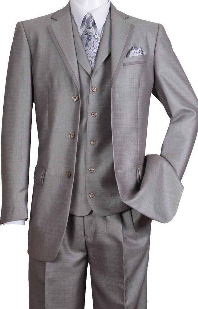 Fortino Landi Men Suit 5909V-Silver - Church Suits For Less