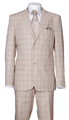 Fortino Landi Men Suit 570203-Khaki - Church Suits For Less