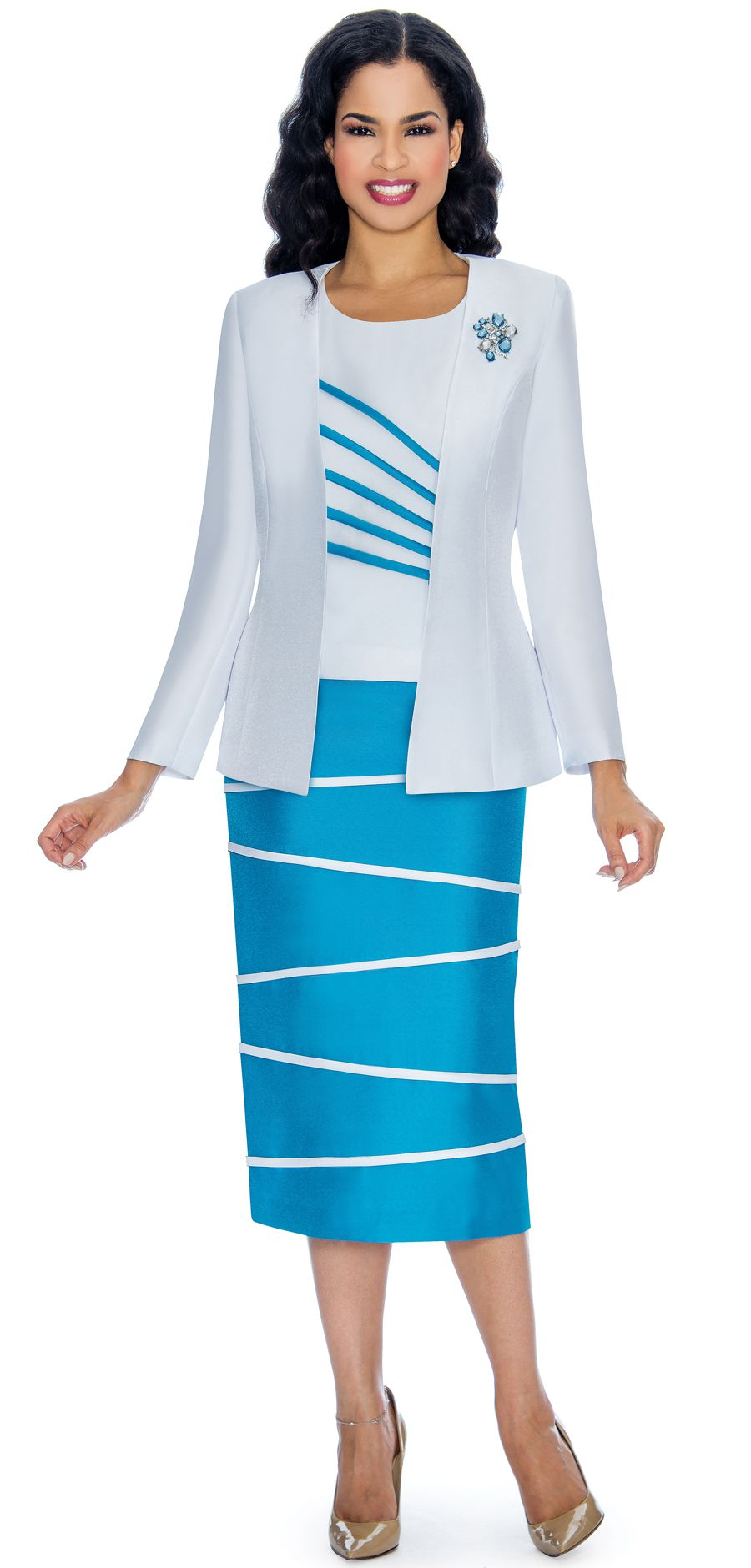 Giovanna Suit 0842-White/Turquoise - Church Suits For Less