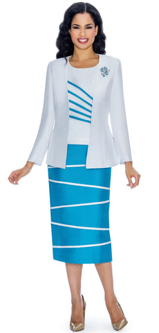 Giovanna Suit 0842-White/Turquoise