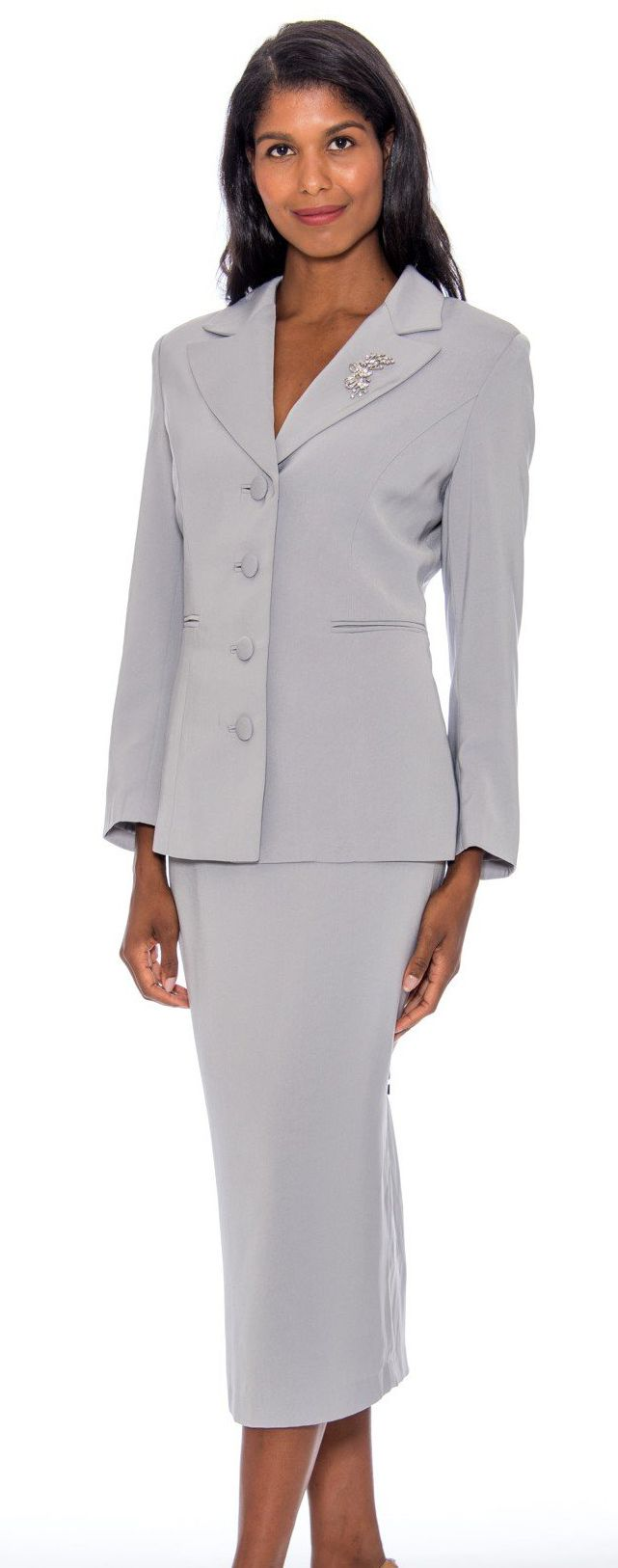 GMI Usher Suit 13382-Silver - Church Suits For Less