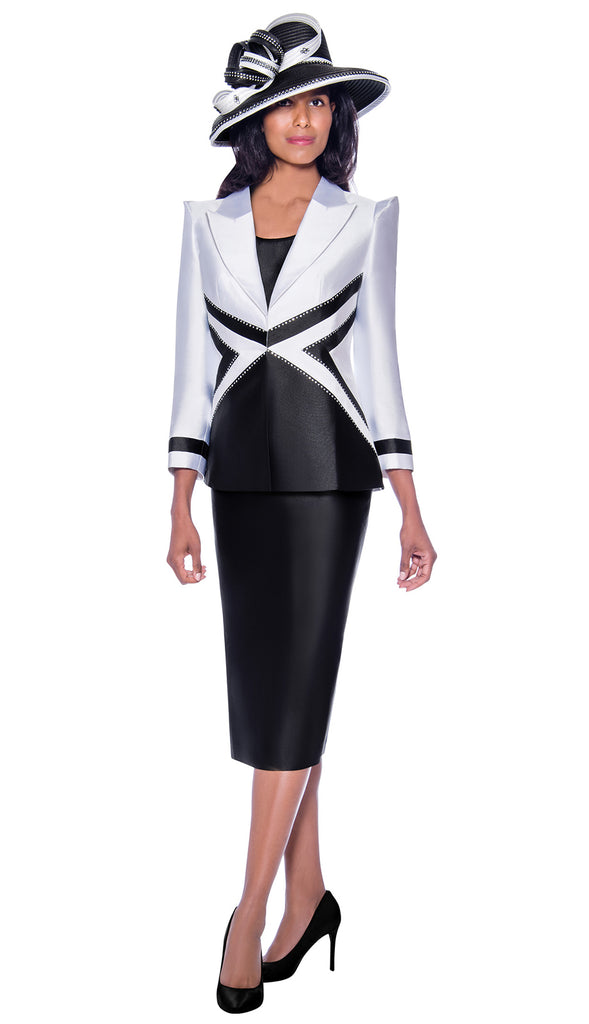 GMI Suit 7943-Black/White - Church Suits For Less