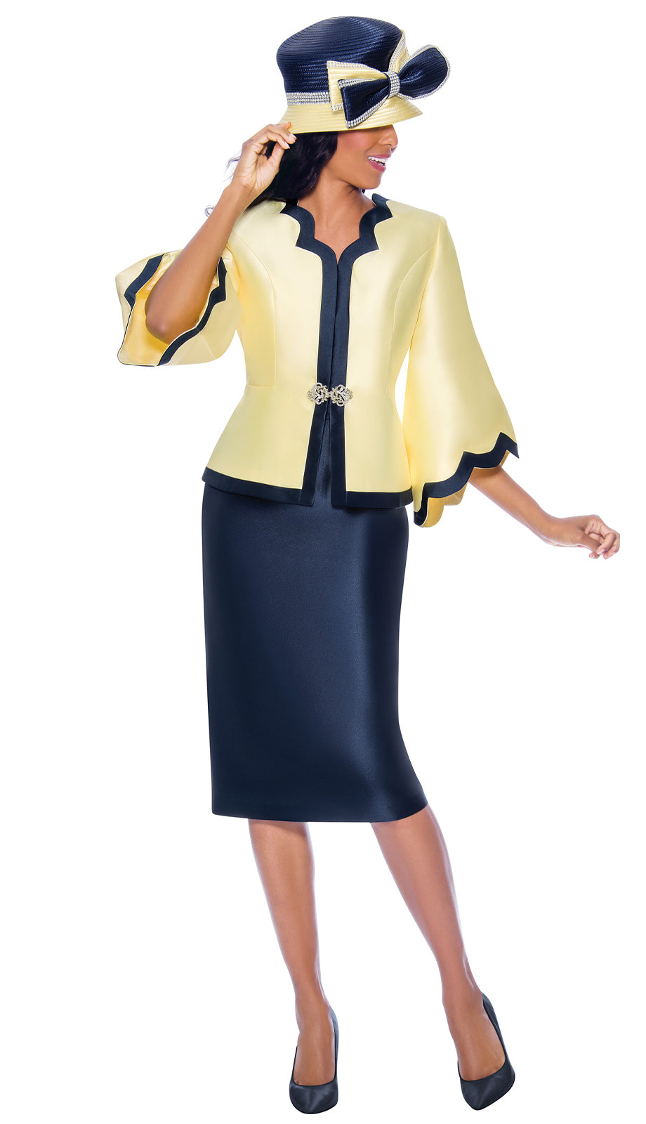 GMI Suit 8062-Yellow/Navy - Church Suits For Less