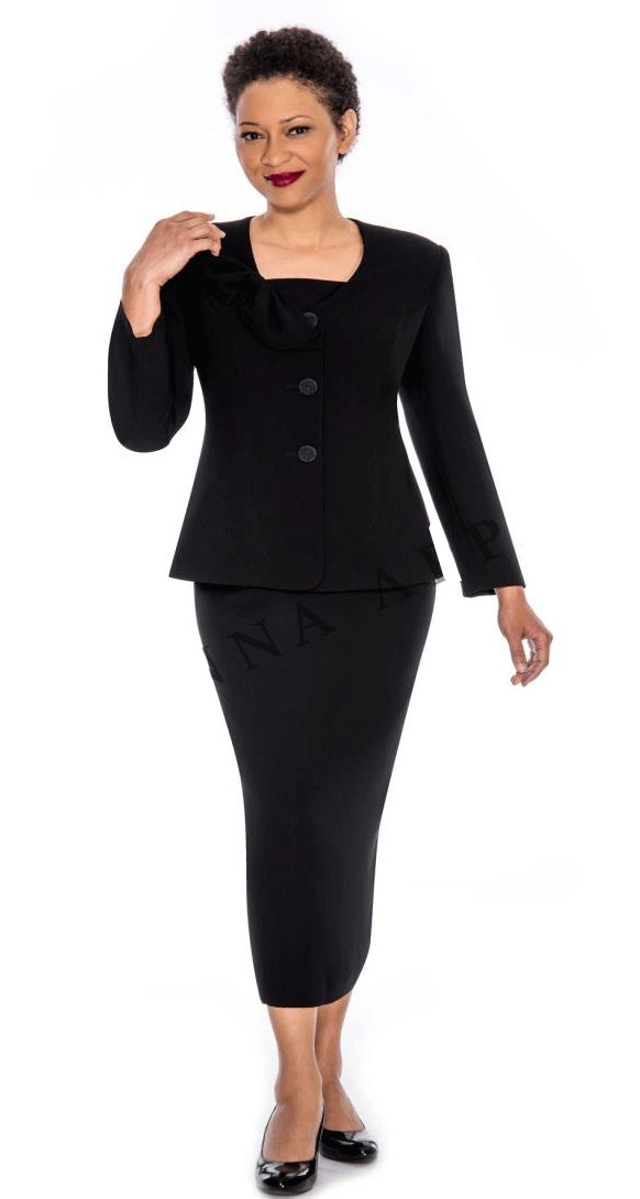 Giovanna Church Suit 0653-Black - Church Suits For Less