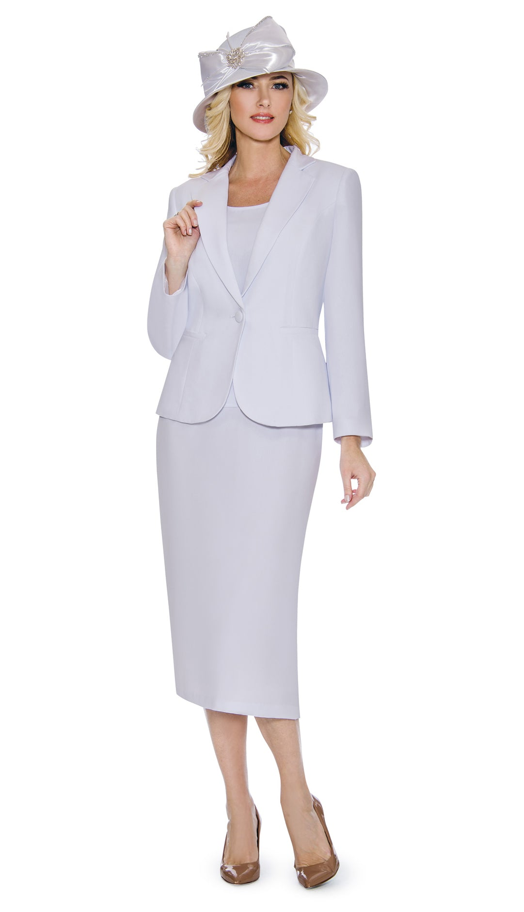 Giovanna Church Suit 0707-White - Church Suits For Less