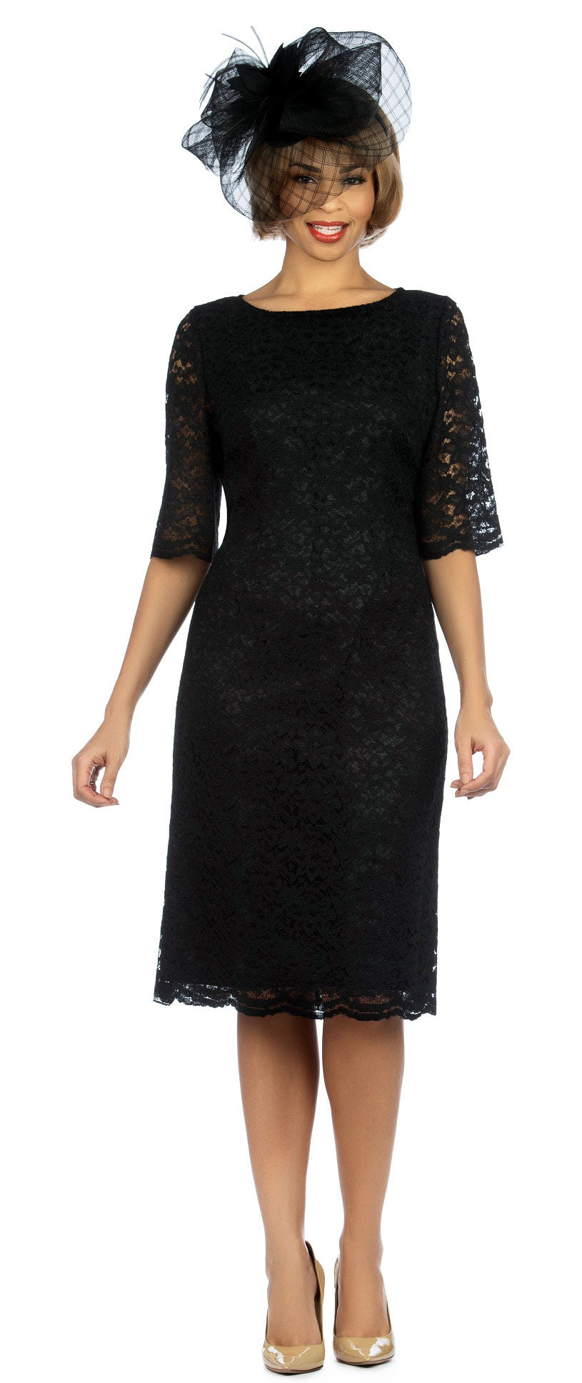 Giovanna Dress D1513C-Black - Church Suits For Less