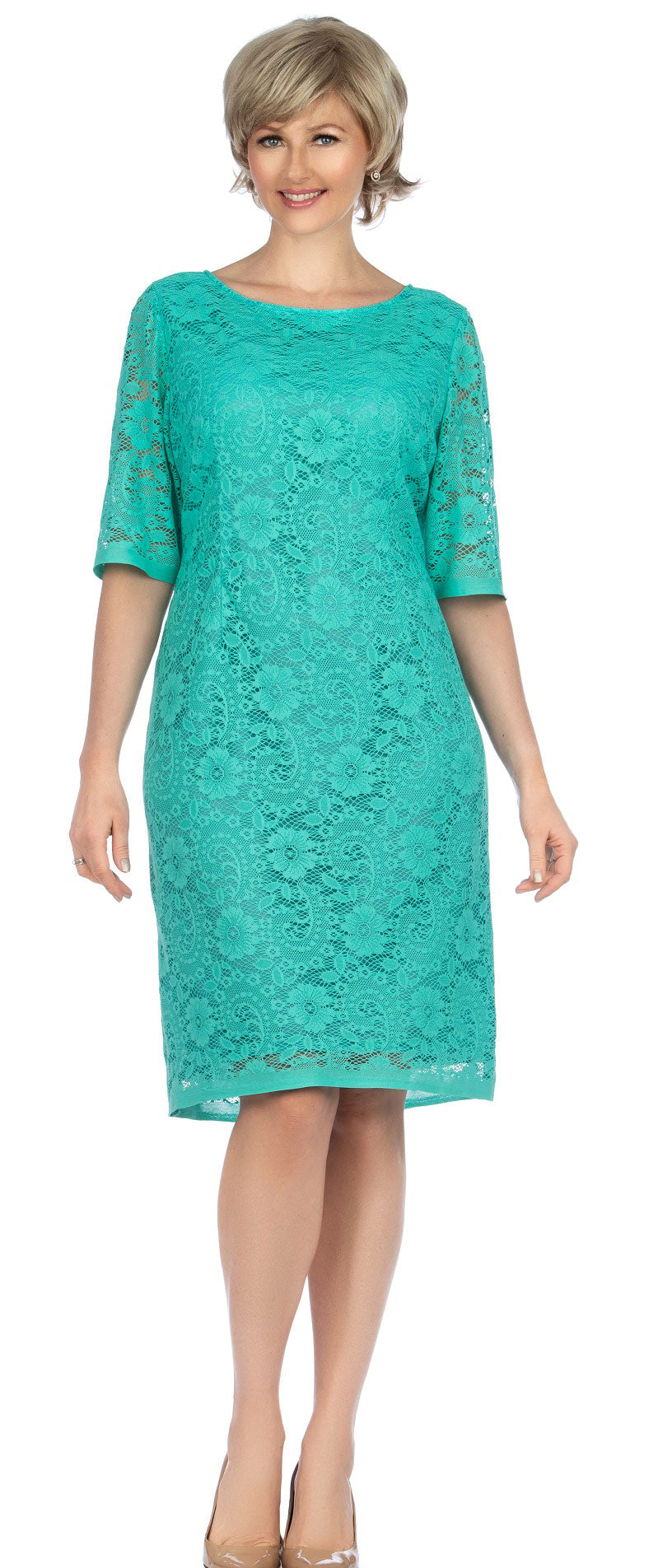 Giovanna Dress D1513-Mint - Church Suits For Less
