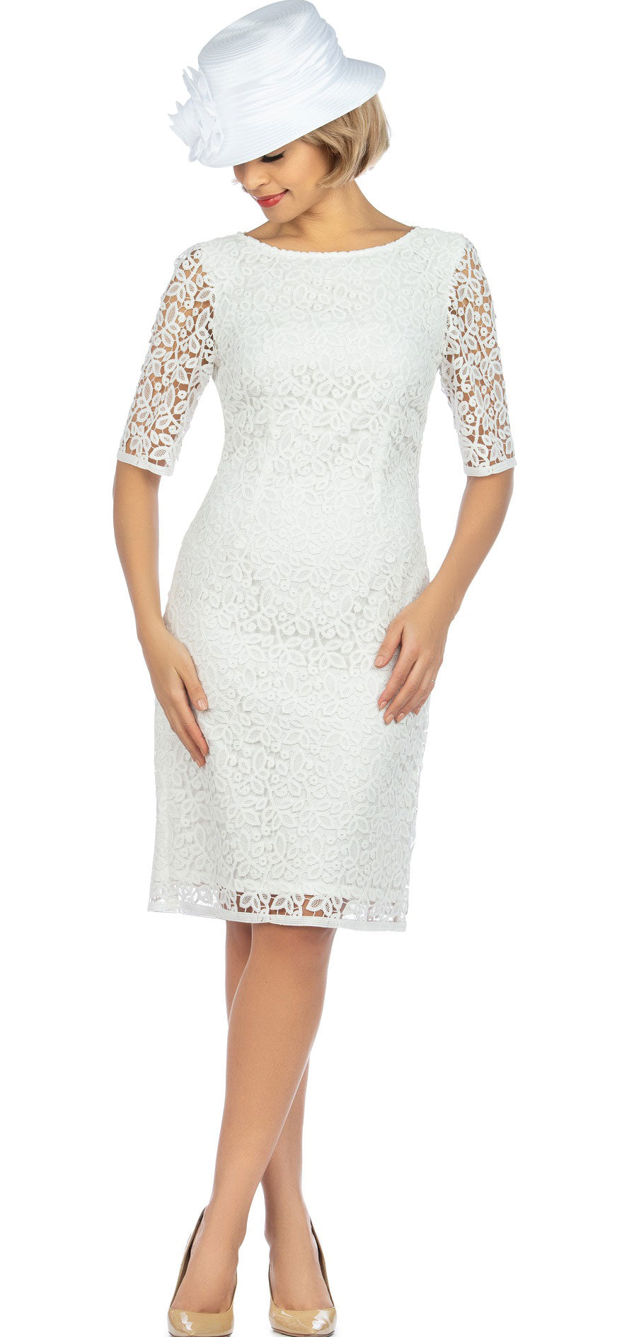 Giovanna Dress D1513-White - Church Suits For Less