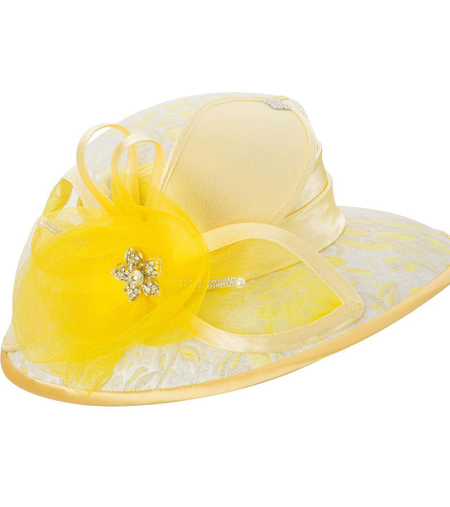 Giovanna Hat H0937-Yellow - Church Suits For Less