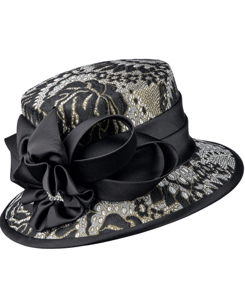 Giovanna Hat G1102-Black/Gold - Church Suits For Less