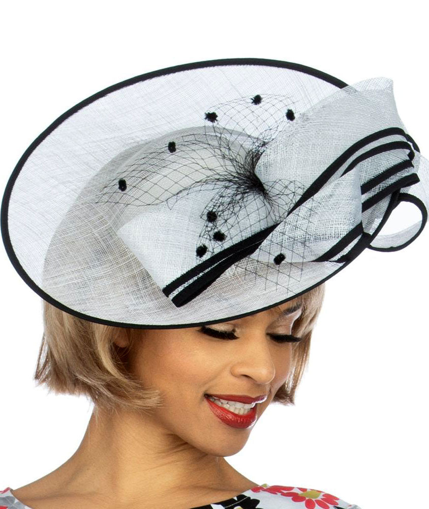 Giovanna Hat HM973-White/Black - Church Suits For Less