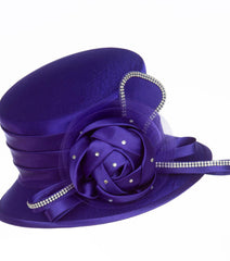 Giovanna Hat HM974-Purple - Church Suits For Less