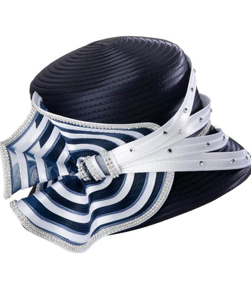 Giovanna Hat HR1058-Navy/White - Church Suits For Less
