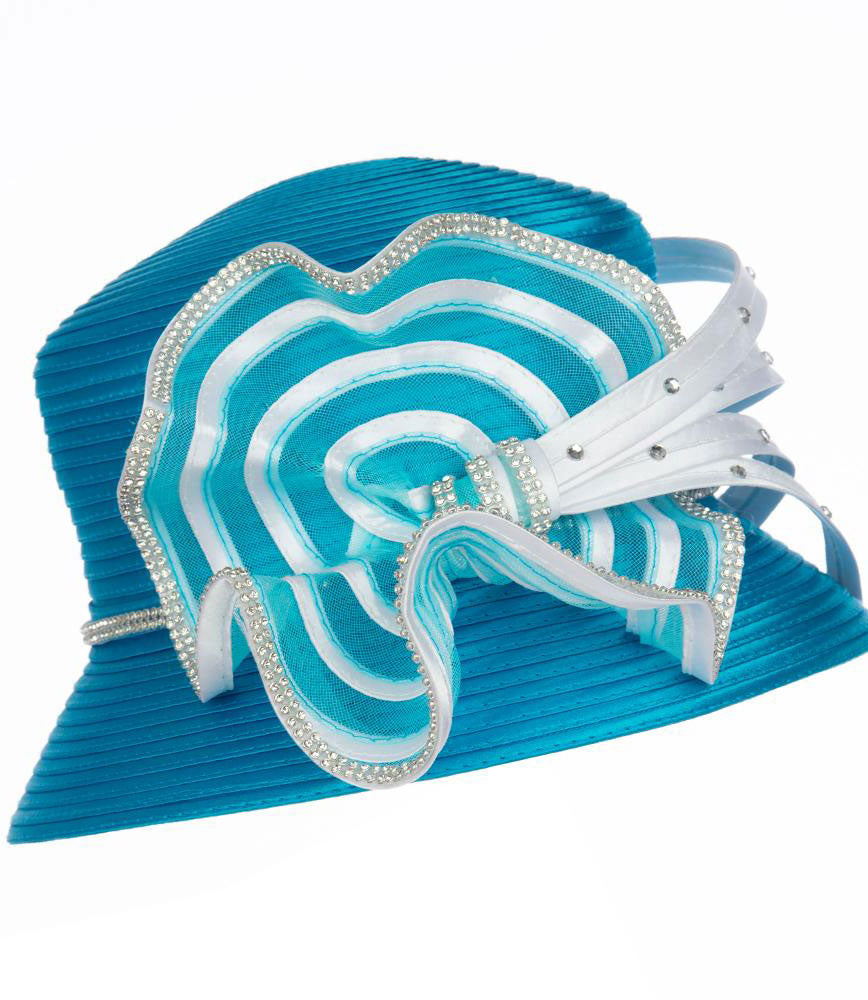 Giovanna Hat HR1058-Turquoise/White - Church Suits For Less