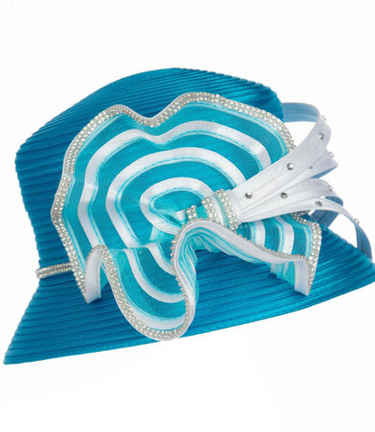 Giovanna Hat HR1058-Turquoise/White