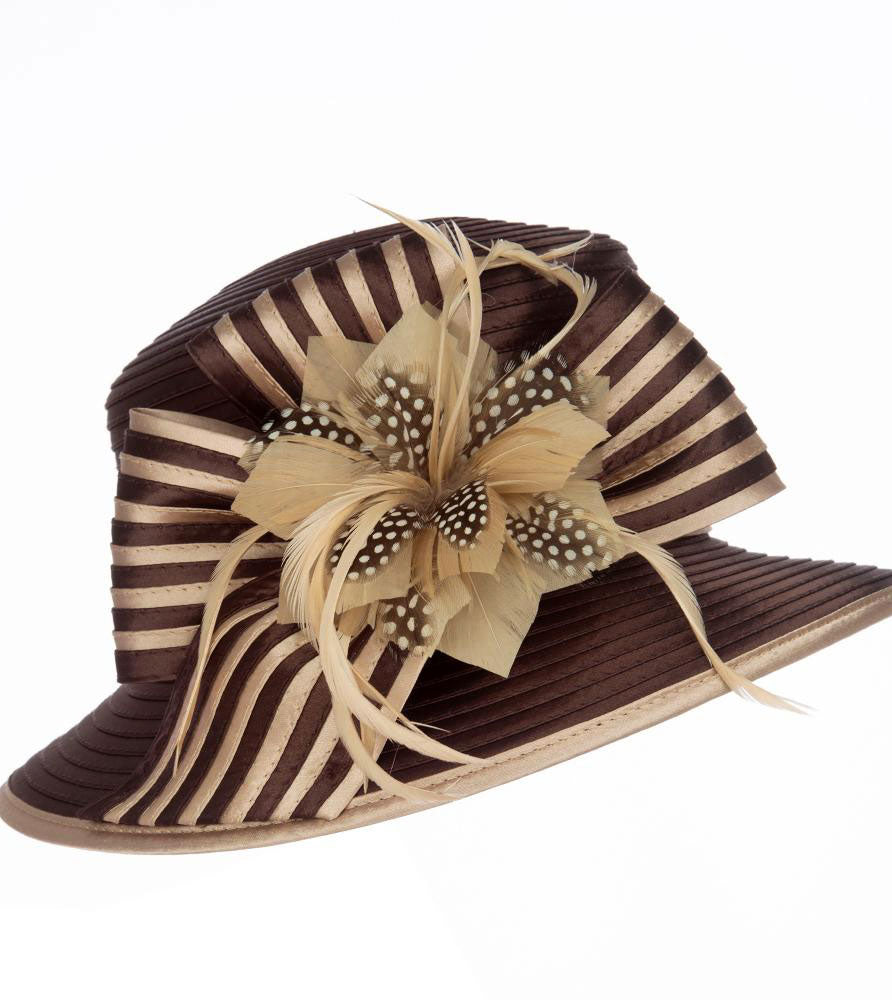 Giovanna Hat HR1059-Chocolate/Chmpagne - Church Suits For Less