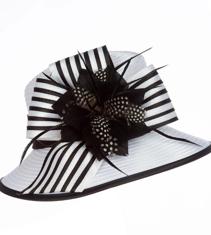 Giovanna Hat HR1059-White/Black - Church Suits For Less
