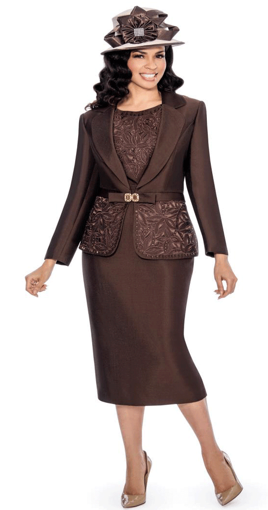 Giovanna Suit G1007-Chocolate - Church Suits For Less