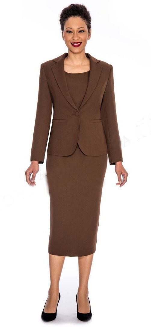 Giovanna Usher Suit 0707-Chocolate - Church Suits For Less