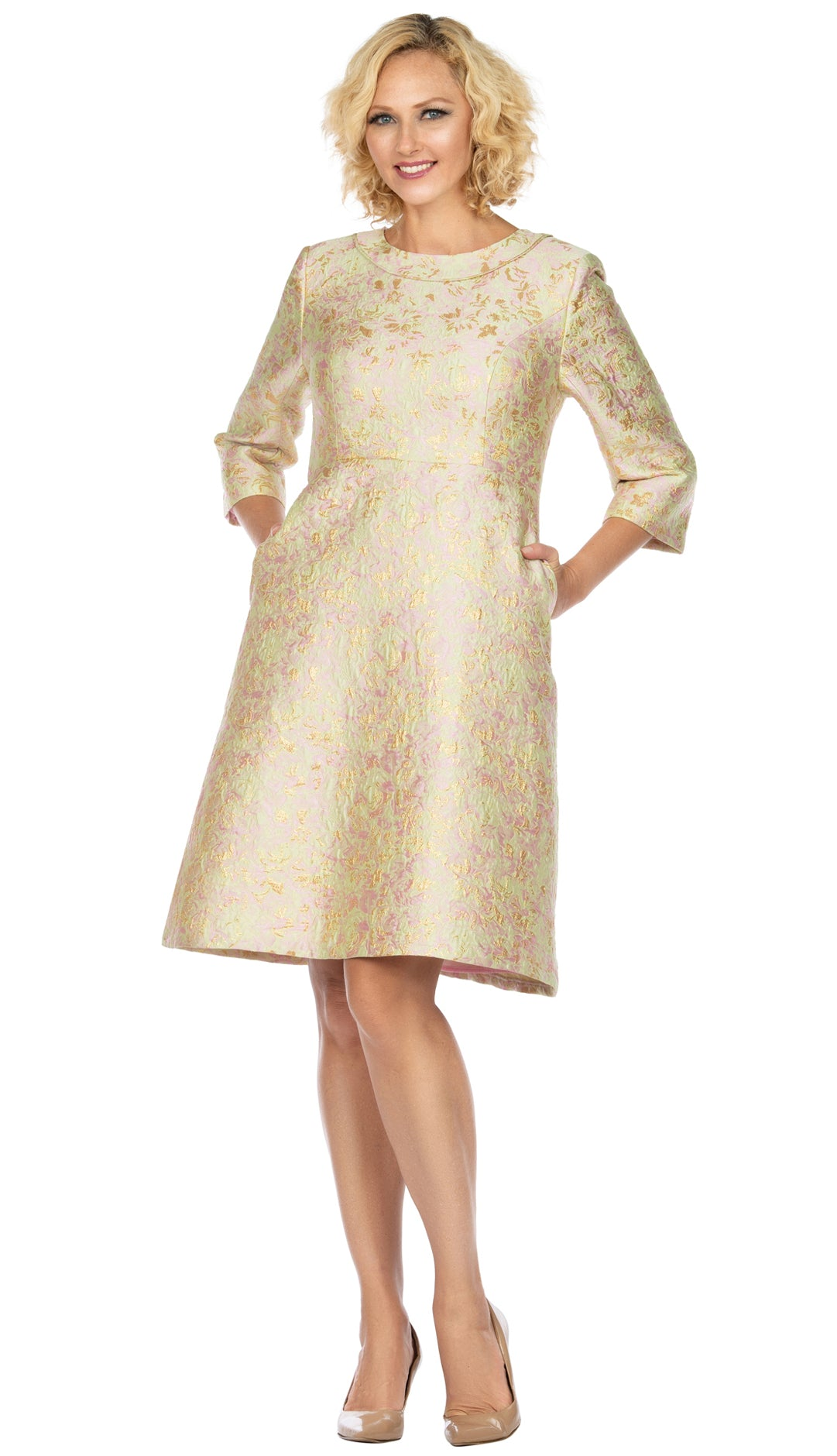 Giovanna Dress D1312-Sring Gold - Church Suits For Less