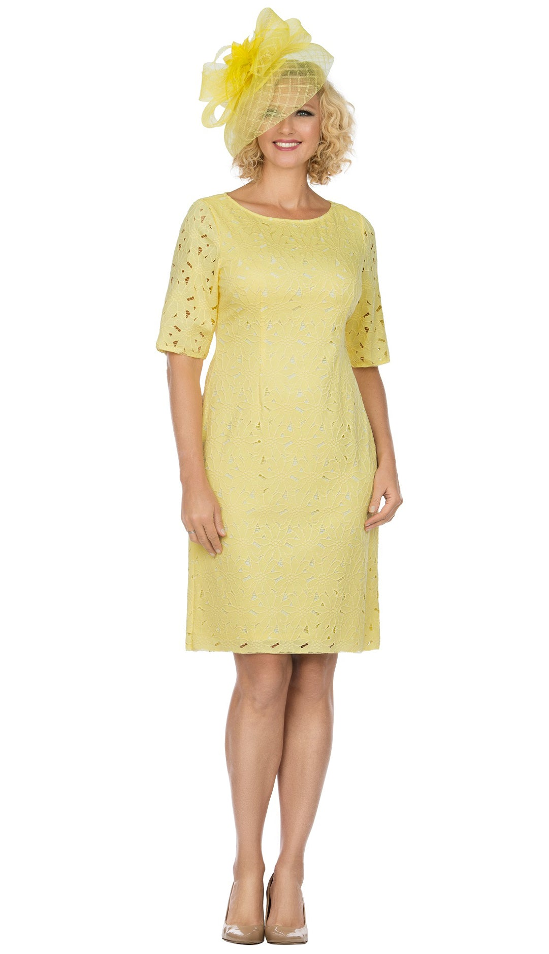 Giovanna Dress D1513-Yellow - Church Suits For Less