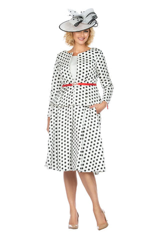 Giovanna Suit G1082-White/Black/Red - Church Suits For Less