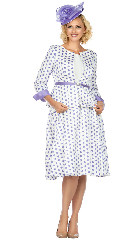 Giovanna Apparel Suit G1082-White/Lavender - Church Suits For Less