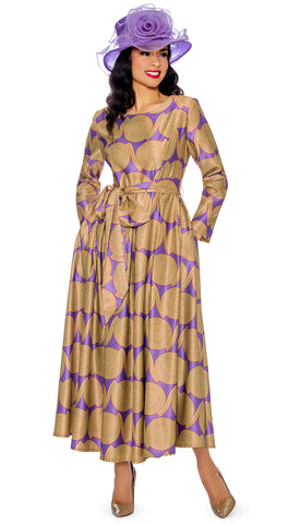 Giovanna Dress D1354-Gold/Violet - Church Suits For Less