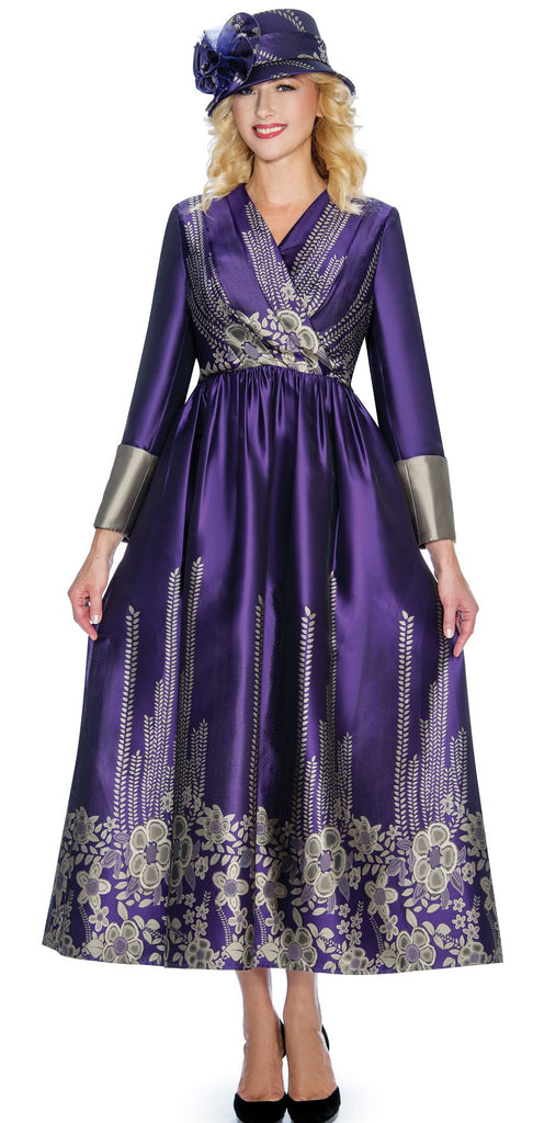 Giovanna Dress D1498-Purple/Gold - Church Suits For Less