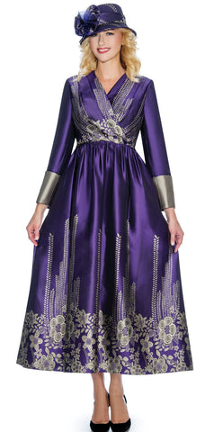 Giovanna Dress D1498-Purple/Gold