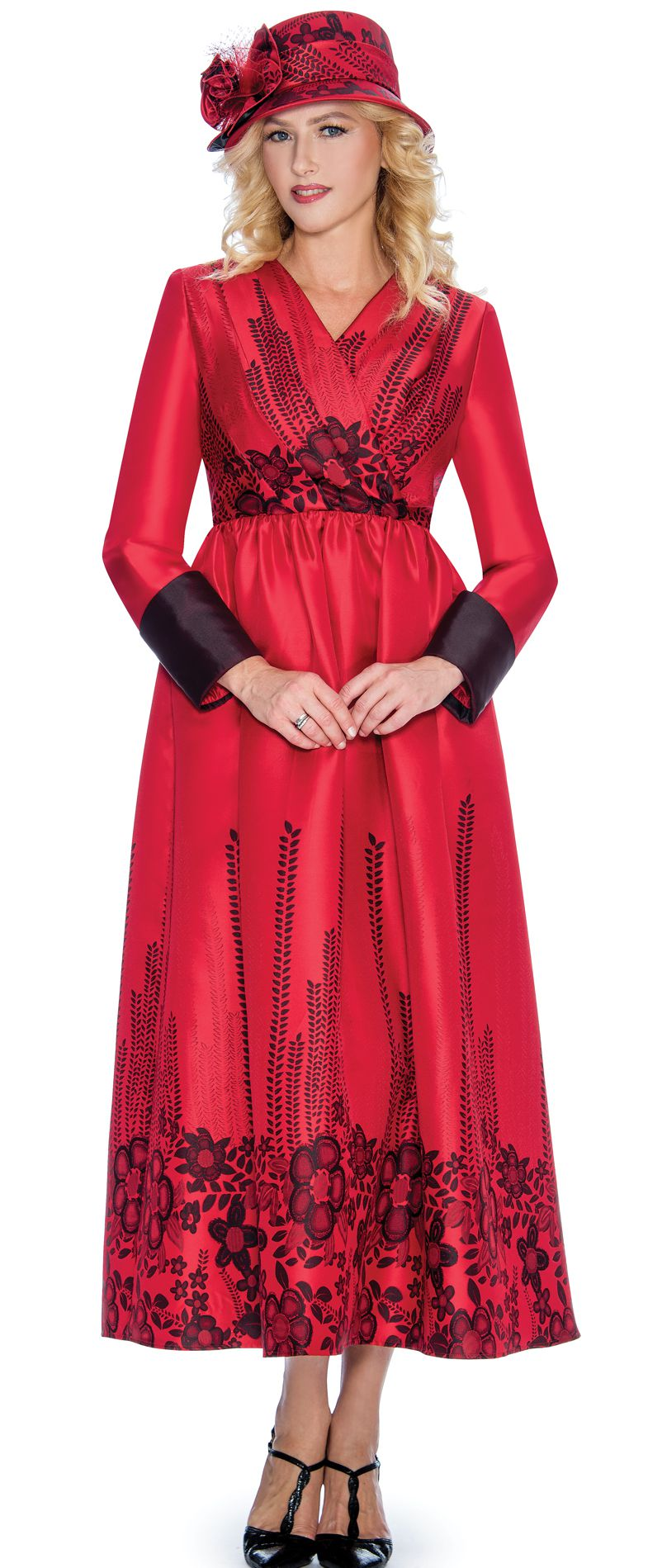 Giovanna Dress D1498-Red/Black - Church Suits For Less