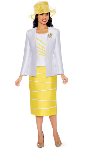 Giovanna Suit 0842-White/Yellow - Church Suits For Less