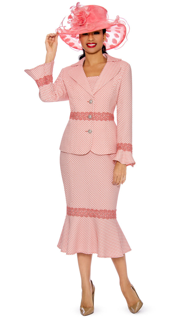 Giovanna Skirt Suit 0910-Coral - Church Suits For Less